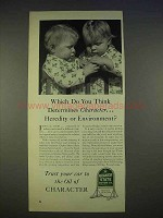 1940 Quaker State Oil Ad - Heredity or Environment