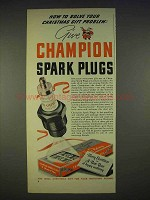 1940 Champion Spark Plugs Ad - Solve Gift Problem