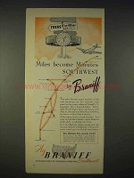 1940 Braniff Airlines Ad - Miles Become Minutes