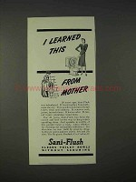 1940 Sani-Flush Toilet Cleaner Ad - Learned From Mother