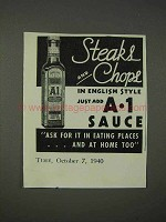 1940 A1 Sauce Ad - Steaks and Chops