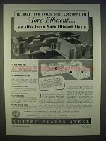 1939 United States Steel Ad - Rolled Steel Efficient