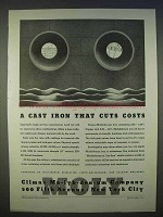 1939 Climax Molybdenum Ad - Cast Iron That Cuts Costs