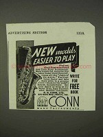 1939 Conn Saxophone Ad - New Models Easier to Play