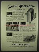 1938 International Nickel Alloy Steels Ad - Arithmetic