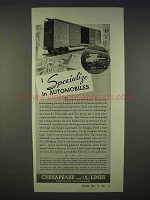 1938 Chesapeake and Ohio Lines Railroad Ad - Specialize