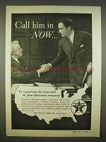 1938 Texaco Lubrication Ad - Call Him in Now