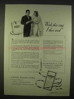 1938 Metropolitan Life Insurance Ad - I Thee Wed