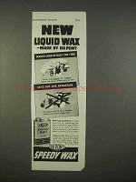 1938 Du Pont Speedy Wax Ad - New Liquid Wax