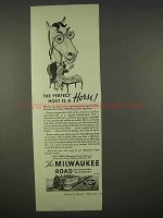 1938 Milwaukee Road Railroad Ad - Host is a Horse!