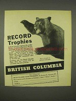 1938 British Columbia Tourism Ad - Record Trophies