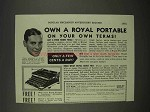 1938 Royal Portable Typewriter Ad - Own On Your Own Terms