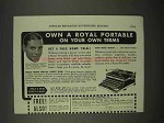 1938 Royal Portable Typewriter Ad - On Your Own Terms