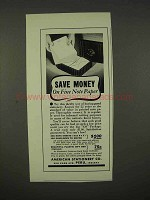 1938 American Stationery Note Paper Ad - Save Money