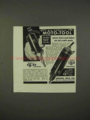 1938 Dremel Moto-Tool Model 1, Model 2 Ad - Saves Time