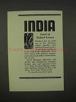 1938 India Tourism Ad - Land of Fabled Luxury