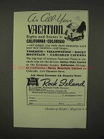 1938 Rock Island Railroad Ad - An All-Year Vacation