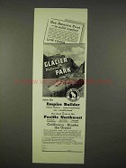 1937 Great Northern Railway Ad - Glacier National Park