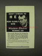 1937 Western Electric Hearing Aid Ad - Don't Strain