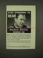 1937 Western Electric Hearing Aid Ad - Stop Straining