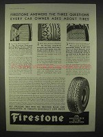 1935 Firestone Tires Ad - Every Car Owner Asks