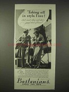 1935 Bostonians Shoes Ad - Taking Off in Style, I See