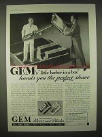 1935 Gem Razor and Blades Ad - Barber-in-a-Box