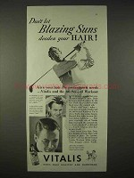 1935 Vitalis Hair Tonic Ad - Blazing Suns Deaden Hair