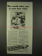 1935 Barbasol Shaving Cream Ad - Takes at Face Value