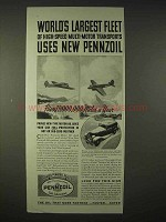 1935 Pennzoil Oil Ad - World's Largest Fleet Uses