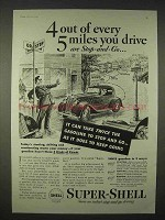 1935 Super-Shell Gasoline Ad - 4 out of every 5 Miles