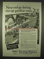 1935 Super-Shell Gasoline Ad - Stop-and-Go Driving