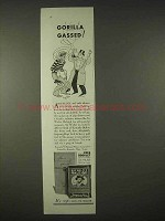 1935 Sir Walter Raleigh Tobacco Ad - Gorilla Gassed