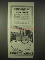 1935 Northwest Airlines Ad - Shortest, Lowest Cost