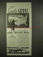 1935 Northwest Airlines Ad - Costs Less
