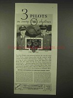 1935 TWA Airlines Ad - 3 Pilots on Every Skyliner