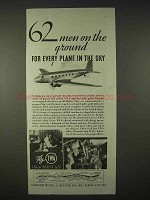 1935 TWA Airlines Ad - 62 Men on the Ground
