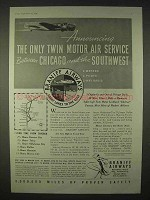 1935 Braniff Airways Ad - Twin Motor Air Service