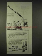 1935 Pabst Blue Ribbon Beer, Ale Ad - It's Time For