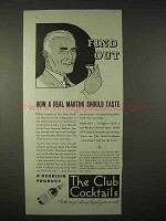 1935 Heublein Club Cocktails Ad - A Real Martini