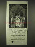 1935 Gordon's Gin Ad - When Gin is Called For