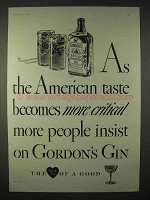 1935 Gordon's Gin Ad - American Taste Becomes Critical