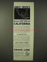 1935 Grace Line Cruise Ad - New York and California