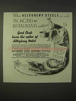 1935 Allegheny Steel Ad - In Hotels and Restaurants