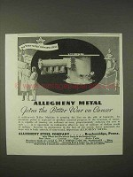 1935 Allegheny Steel Ad - Joins Bitter War on Cancer