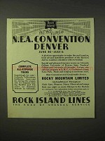1935 Rock Island Railroad Ad - N.E.A. Convention Denver