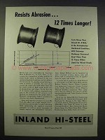 1946 Inland Hi-Steel Ad - Resists Abrasion Longer