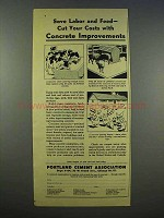 1946 Portland Cement Association Ad - Save Labor, Feed