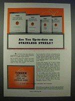 1946 Timken Alloy Steel Ad - Up-to-Date on Stainless