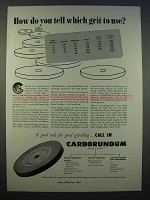 1946 Carborundum Grinding Ad - Which Grit to Use?